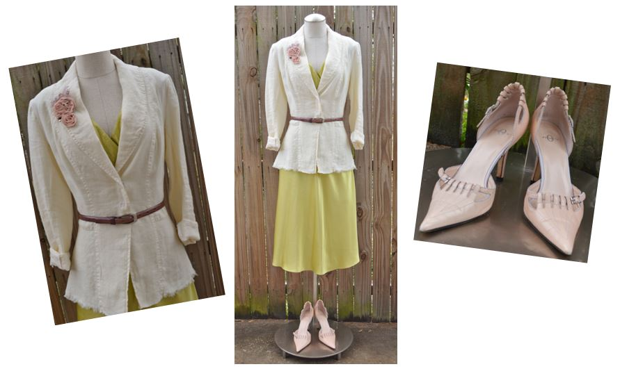 CM Citron Silk Dress Work Look