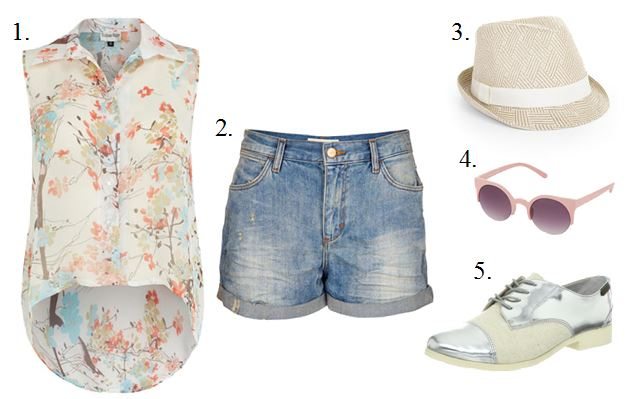 Denim Shorts and Oxfords Ensemble