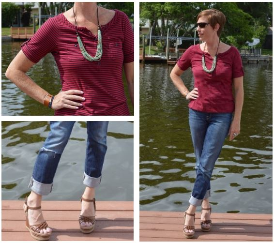 Nautical Stripes Boyfriend Jeans Espadrille Wedges Statement Necklace