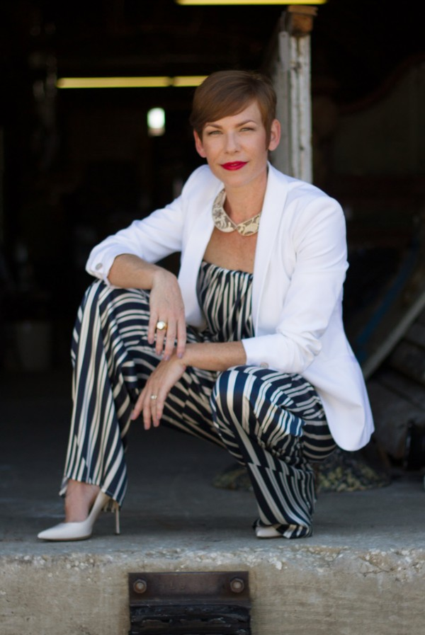 White Blazer, Striped Jumpsuit, Red Lips, Sergio Rossi Pumps