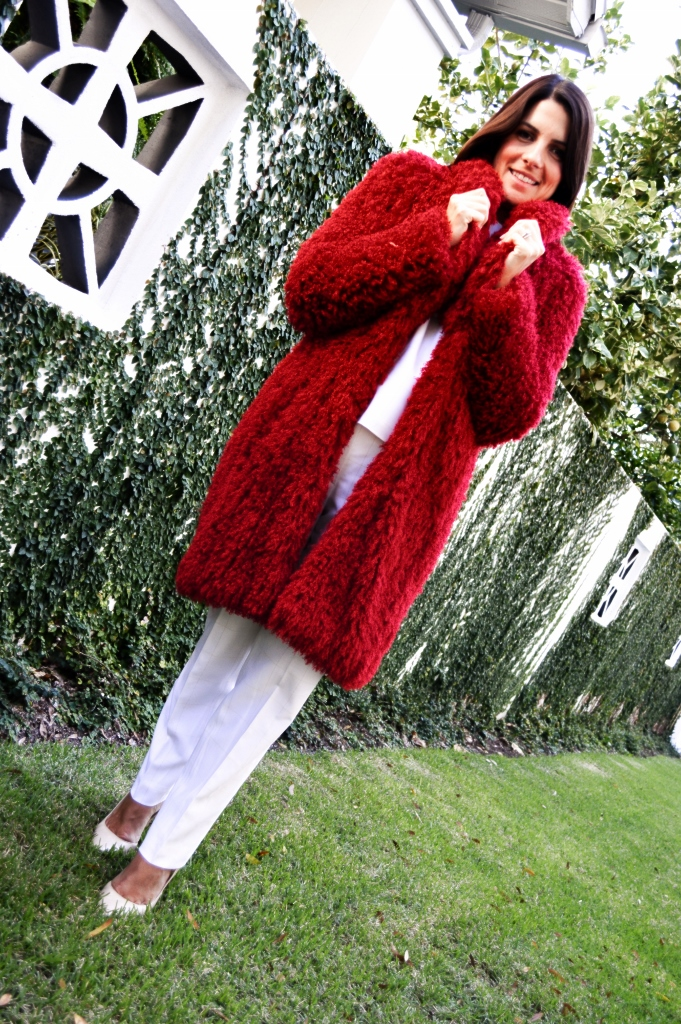 Worth Winter 2014 Red Faux Curly Lamb Coat