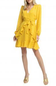 ASTR Yellow Ruffle Dress Nordstrom