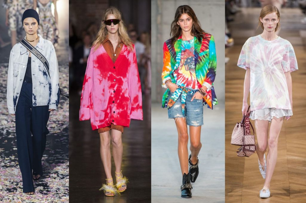 Spring Summer 2019 Runway Collections: Tye-Dye Trend.  Dior, MSGM, R13, Stella McCartney